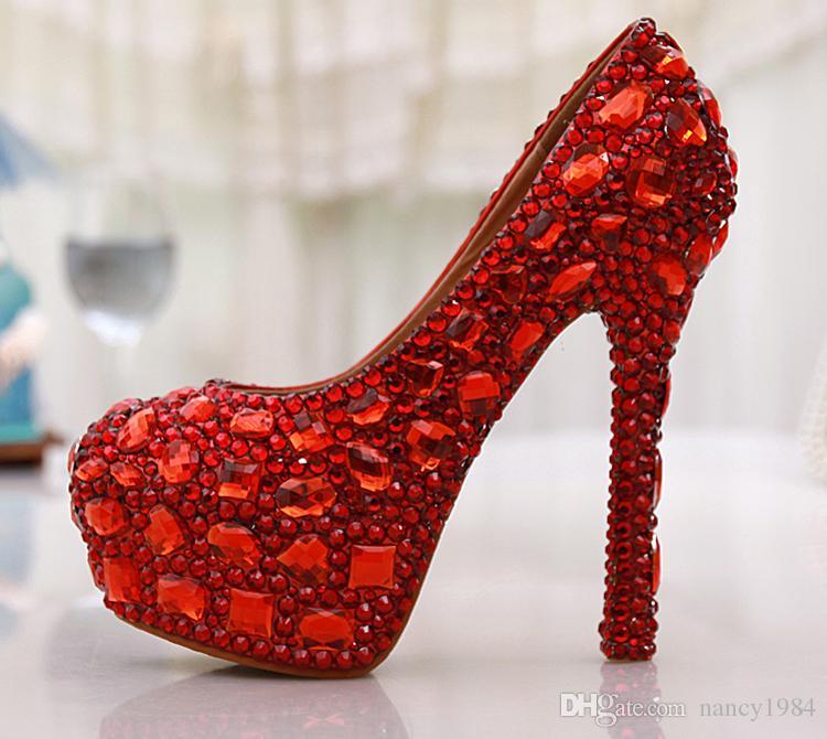 الشحن مجانا الأحمر كريستال حجر الراين الماس 14 سنتيمتر عالية الكعب النساء أحذية الزفاف العرسان النساء حجم كبير 42 43 حفلة موسيقية الأحذية