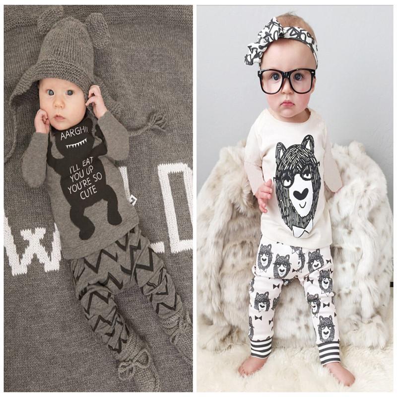 2 Design Pigiama bambino 2015 nuovi bambini Autunno inverno Cotone piccolo mostro del fumetto Pigiama manica lunga + Pantaloni 2 pezzi Set / lotto C001