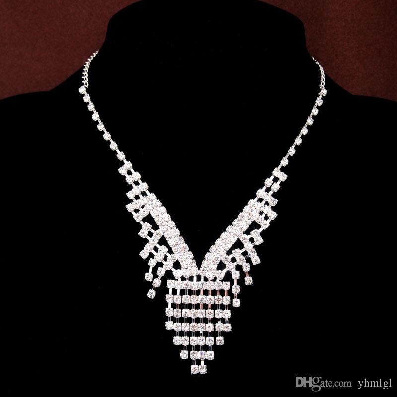Роскошные 2015 18K посеребренные горный хрусталь австрийский хрусталь ожерелья + серьги Stick невесты Шарм ювелирные наборы для свадьбы