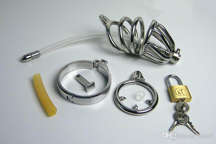 Edelstahl Doppelring Keuschheits Silikonschlauch mit Widerhaken Anti-Shedding Ring Cock Cage Männliche Harnröhrenklingenden BDSM Sexspielzeug
