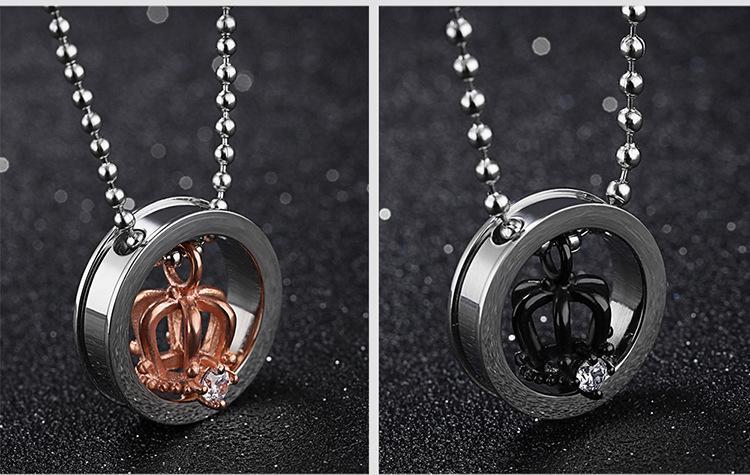 Рождественский подарок * любители 316L ожерелье из нержавеющей стали с подвеской цепи ювелирные изделия пара ожерелья корона кулон girlfrend подарки