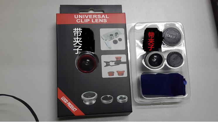 Evrensel cep telefonu kamerası. Dış etkiler Öz atışlar. Geniş Açı Lens + Makro + Balıkgözü Üçlü
