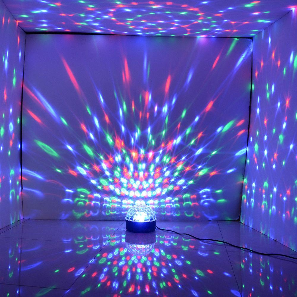 DJ Club Disco KTV Party Bar RGB Crystal LED Ball Projector Stage Effect Light Auto&voice-activated Night Light Decor llighting