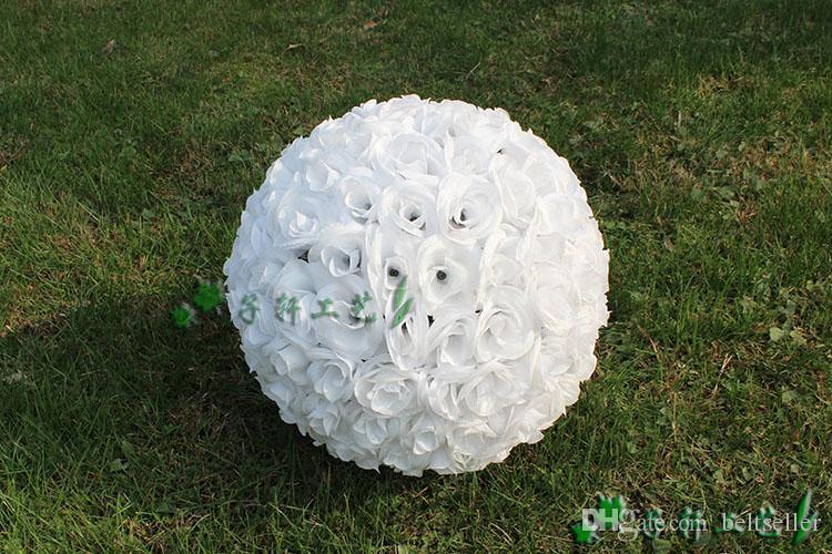12 بوصة 30 سنتيمتر التشفير الاصطناعي روز الحرير زهرة التقبيل كرات شنقا الكرة لعيد الميلاد الحلي زينة الزفاف باقة 7 اللون