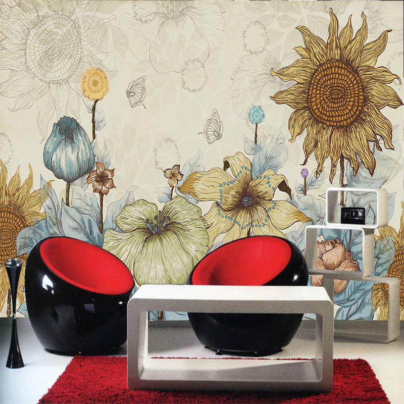 Wholesale Customized Home Decor Living Room Wallpaper Large Mural Painted  Sunflower Tv Backdrop Cartoon Abstract Retro Wall Paper 1x3m Wallpaper  Girls ...