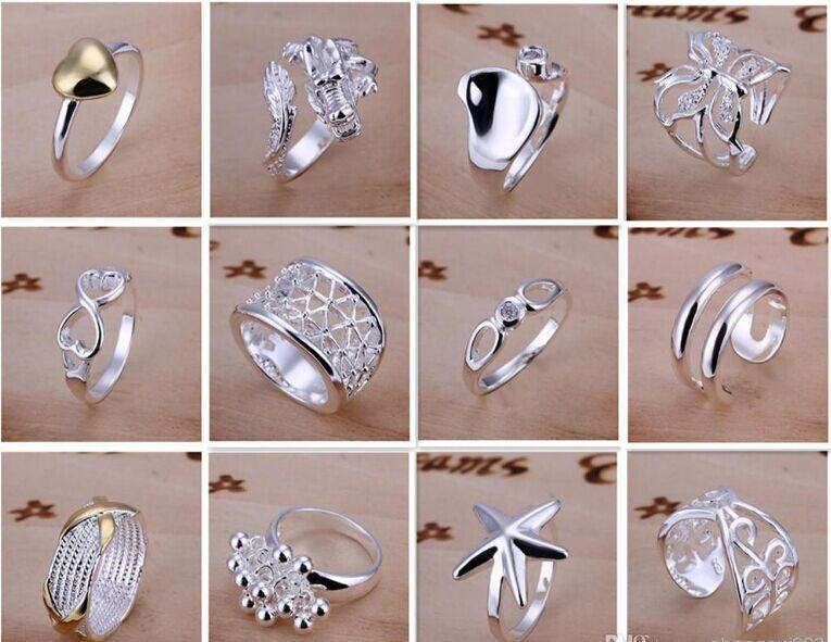 Chegam novas 925 jóias de prata 50 pçslote Charme mulheres meninas finge anéis Multi Estilos Anéis Mix tamanho ordem da mistura Venda Quente 1761