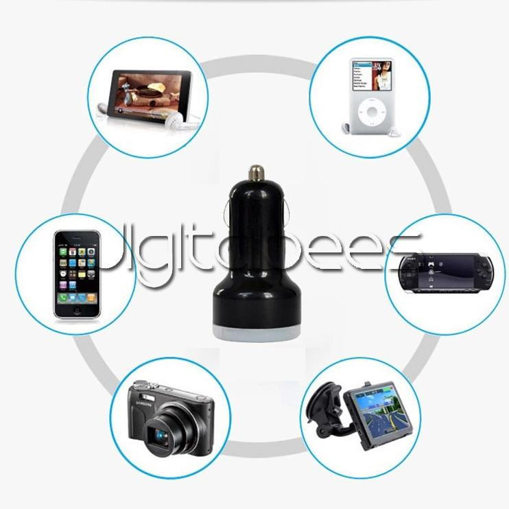 2 USB 다채로운 자동차 충전기 담배 포트 5v 1A 마이크로 자동 전원 어댑터 듀얼 USB 애플 s7 s7