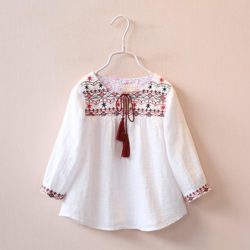 Spring Kids Clothing Girl Embroidered Loose T Shirt Tops Children Long Sleeve Dress Shirts Kids Tops Girl T Shirts 6 Pcs/lot