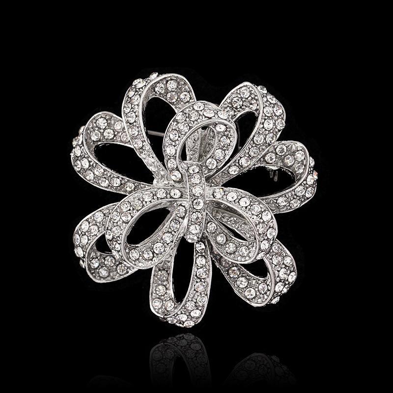 Vintage Stylish High Quality Austria Crystals Pretty Flower Brooch Rhodium Plated Wedding Bridal Bouquet Broach Women Corsage For Party
