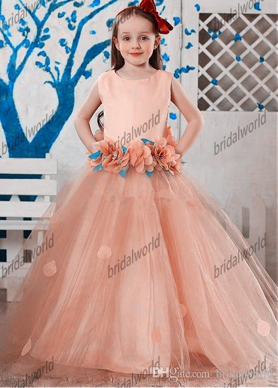 Glitz Pageant платья 2015 Принцесса ручной работы цветы длина пола pageant платья для маленьких девочек платья на заказ
