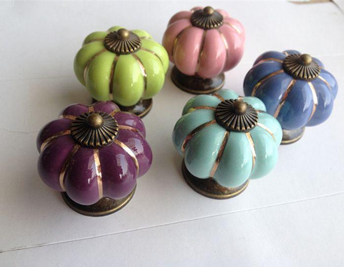 2018 2014 Newest Pumpkins Knobs Europe Ceramic Door Cabinet Cupboard  Handles Drawer Pull 40mm Pink Purple Light Blue Ceramic Knob From  Kungshuphan, ...