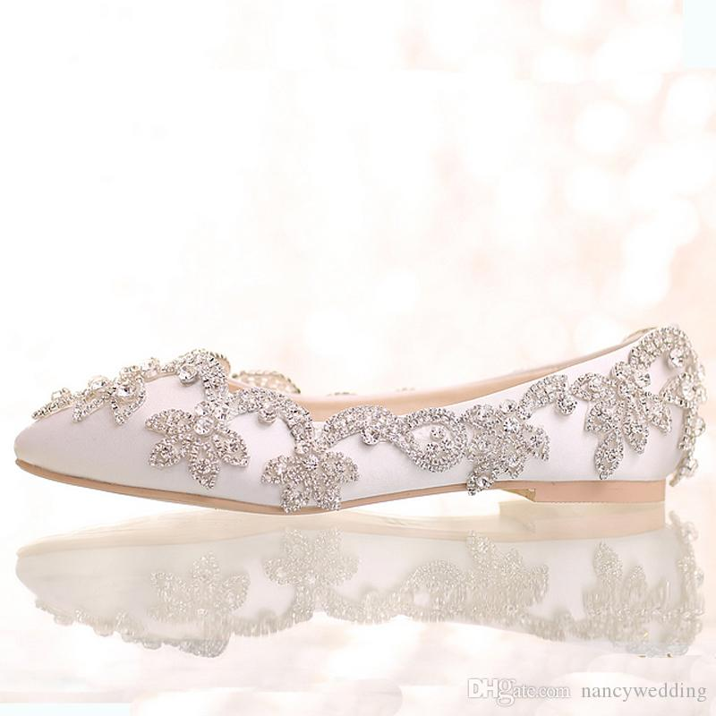 2016 White Satin Diamond Wedding Shoes Flat Heel Women Rhinestone Bride  Shoes Handmade Fashion Comfortable Formal Dress Shoes Bridalshoes Bride And  ...