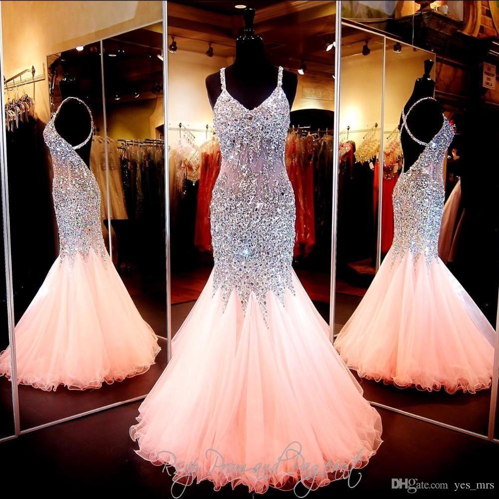 저렴한 블링 섹시한 이브닝 드레스를 착용 V 넥 크리스탈 주요 구슬 환상 공주 긴 크리스 크로스로 돌아 가기 정장 Vestidos 댄스 파티 파티 드레스