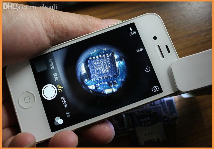 Wholesale-Free shipping 60X Zoom Mobile Phone Camera Optical LED UV Clip  Magnifier Microscope Micro Lens