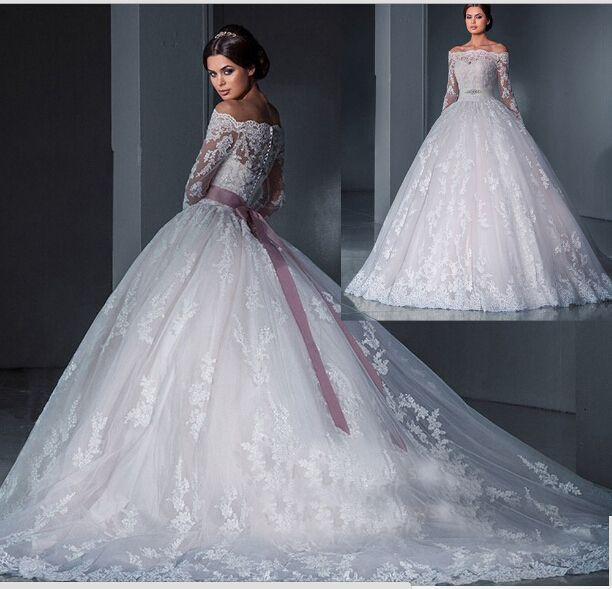 discount robe de mariage 2016 off the shoulder lace islamic wedding dress ball gown long sleeve bridal dresses belt court train vestido de noiva a line