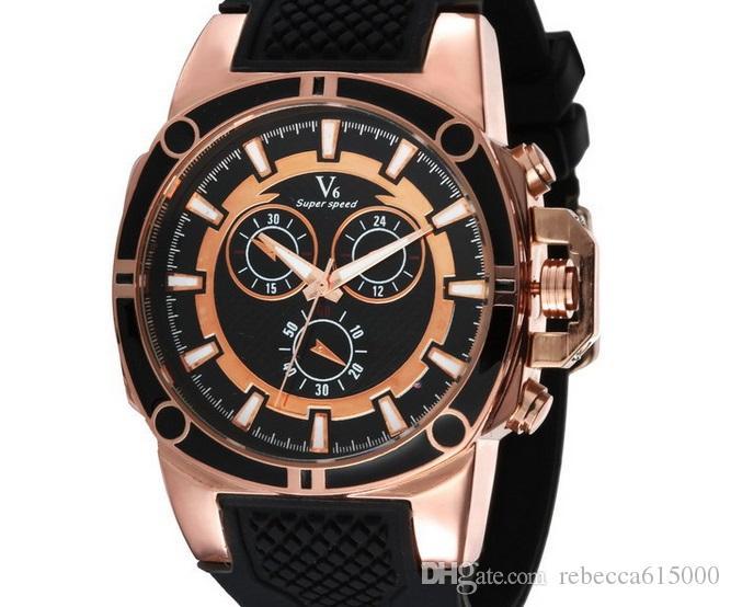 2015 vendita calda Nuovo V6 Casual Orologi da uomo al quarzo Sport colro fascia Orologio da polso Dropship orologio in silicone Ore di moda Dress Watch REGALO DI NATALE