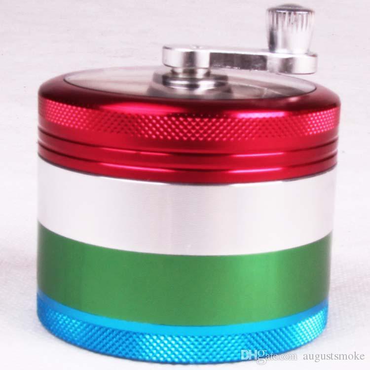 El Krank Renkli Alüminyum Bitkisel Herb Metal Tütün El Krank Öğütücü Kırıcı 4-Layer 63 * 50mm sigara boru değirmeni yeni