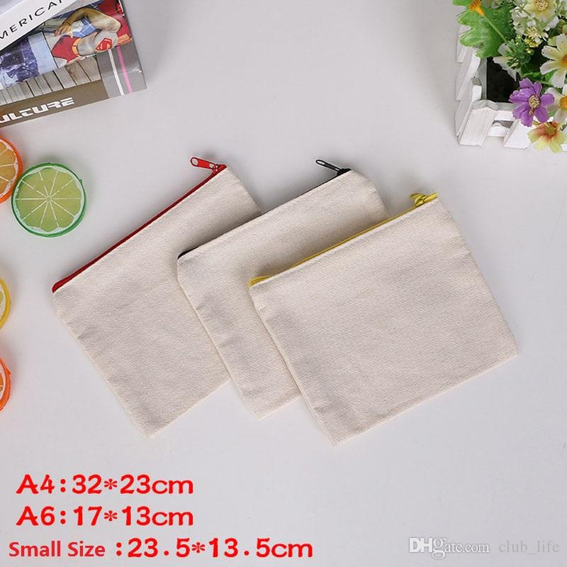 Brief A4 A6 Bag Fabric Canvas File Folder For Documents Sundries Document Storage Bag Blank Zipper Organizer ZA5067
