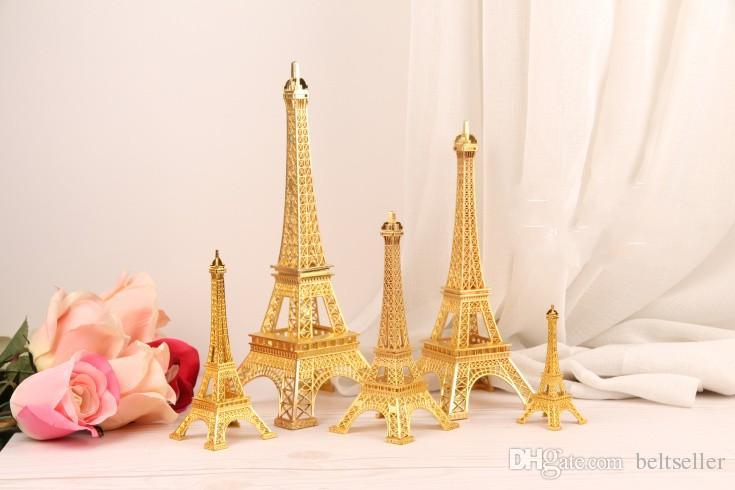 رومانسي الذهب باريس برج ايفل نموذج سبيكة برج ايفل المعادن تذكارية الزفاف المركزية الجدول محور حجم كثير للاختيار