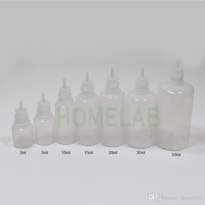 ملون 500 قطع 5 ملليلتر 10 ملليلتر 15 ملليلتر 20 ملليلتر 30 ملليلتر 50 ملليلتر الخالي زجاجات البلاستيك السائل القطارة مع قبعات الطفل والدليل على زجاجة إبرة نصائح السائل