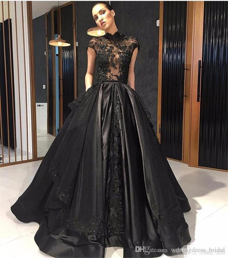 Black Lace Celebrity Evening Dresses 2019 High Neck