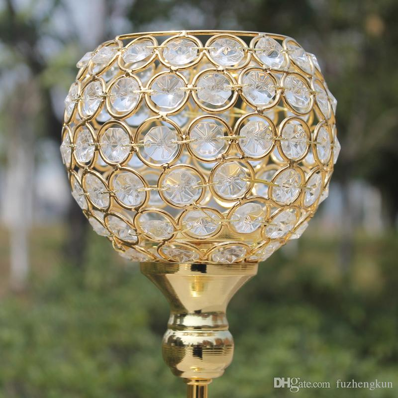 Nova metal ouro castiçal revestida com casamento cristais candelabros / peça central decoração castiçal um conjunto =
