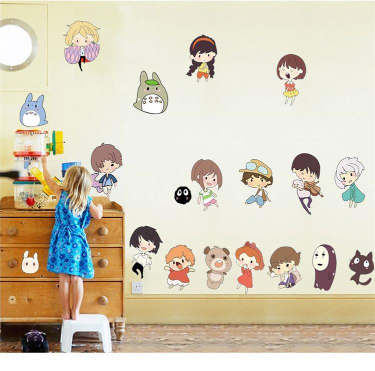 Hayao Miyazaki Animation Ghibli Totoro Wall Sticker Cartoon My Neighbor  Totoro Wallpaper Kids Room Home Decor Anime Wall Art Wall Decor Decals Wall  Decor ...