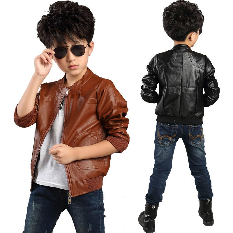 New High Quality Boy Children Pu Leather Jacket,Thickness Winter ...