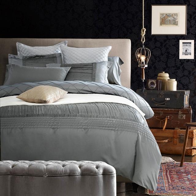 Grosshandel Seidenlaken Luxus Designer Bettwasche Set Silbergrau