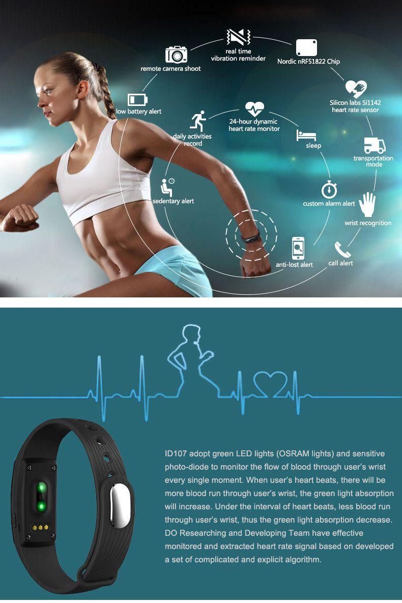 Fitbit ID107 بلوتوث رصد معدل ضربات القلب سوار الفرقة الذكية الإسورة Smartband للياقة المقتفي الأساور الرياضية لالروبوت iOS الهاتف الذكي