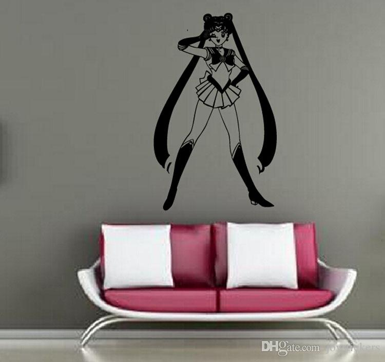 Decal Removable Home Decor Vinyl Decal Cartoon Sailor Moon Victory Outline Sketch V Baby Room Anime Sticker Wall Paper Wall Sticker