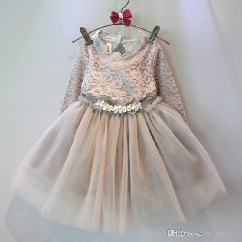 1d112a022c Autumn Kids Girls Crochet Lace Dress Baby Girl Long Sleeve Tulle ...