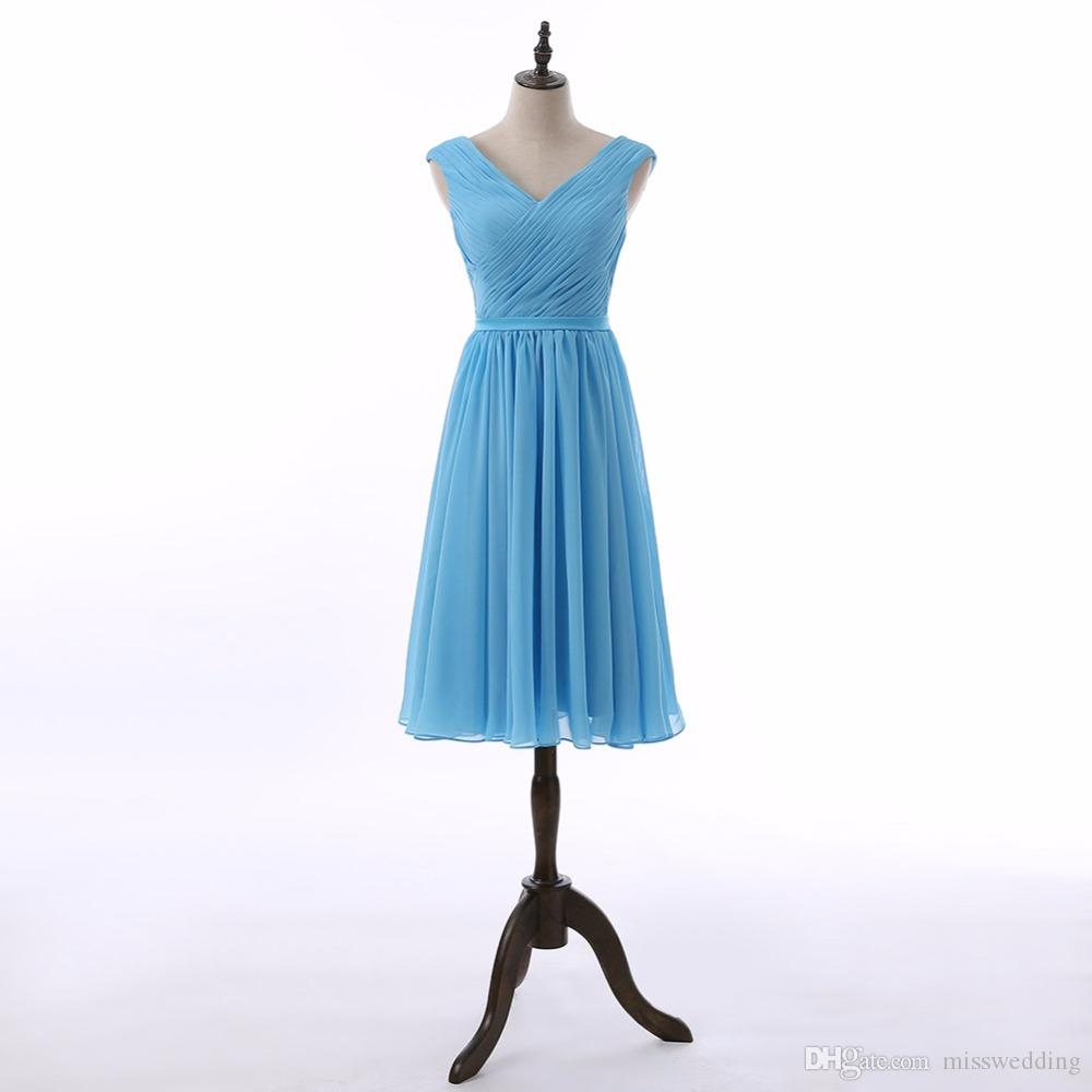 Competitive Price V Neck Baby Blue Bridesmaid Dress Chiffon Knee ...