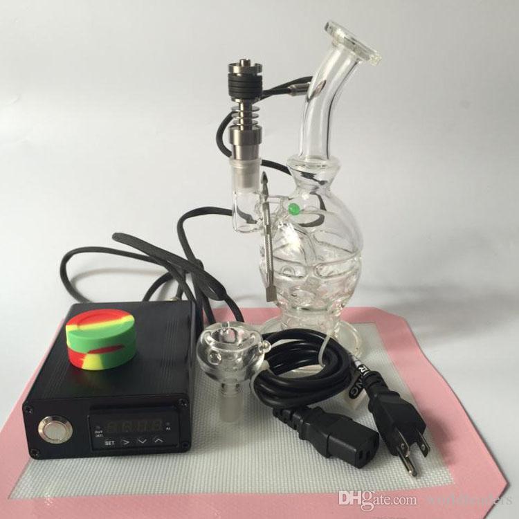 Vrouwelijke 14mm Gezamenlijk Recycler Olie Rigs Glas Nail Kit Nail Wax Vaporizer Droge Droge Kruiden E Sigaretten Vaporizer Glas Bong Water Pijp