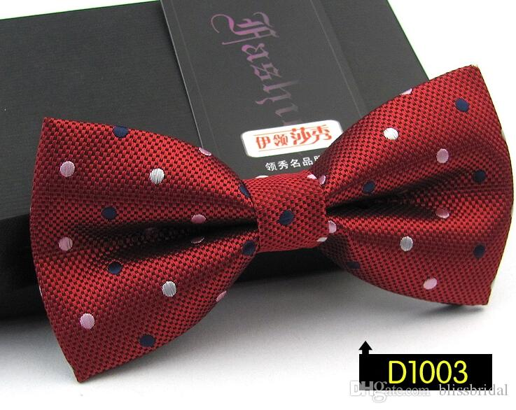 Different Colors Bridegroom Polka Dots Unisex Neck Bowtie Bow Tie Adjustable Bow Tie high quality metal adjustment buckles