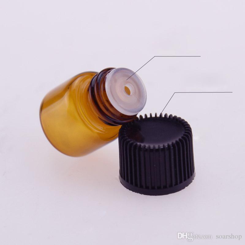 Hot Selling 1ml 2ml 3ml 5ml Amber Sample Vial ,Brown Mini Glass Bottles With Black Reducer & cap For Essential Oils