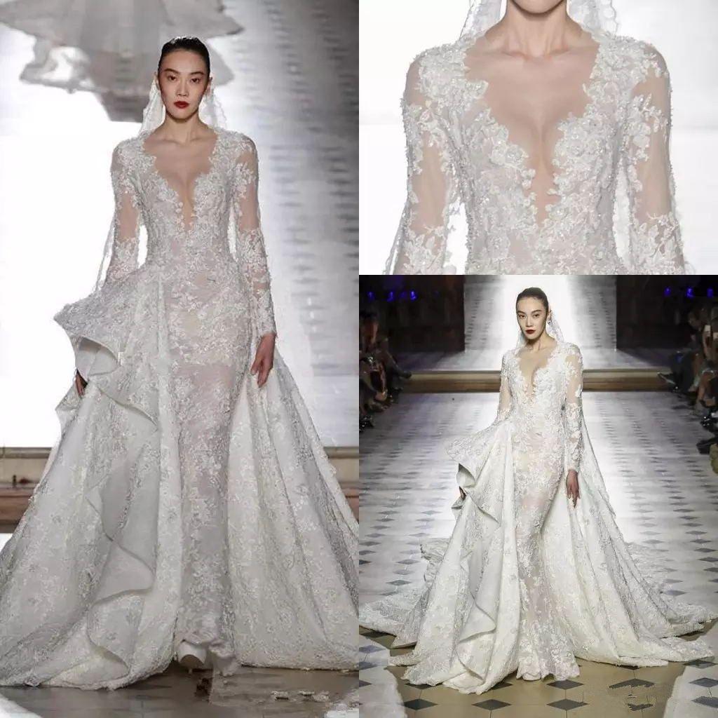 f064925b26 Long Sleeve Princess Wedding Dresses With Detachable Train 2018 Tony Ward  Bridal Gowns Sheer Neck Luxury Lace Dubai Arabic Wedding Dress Designer  Gowns ...