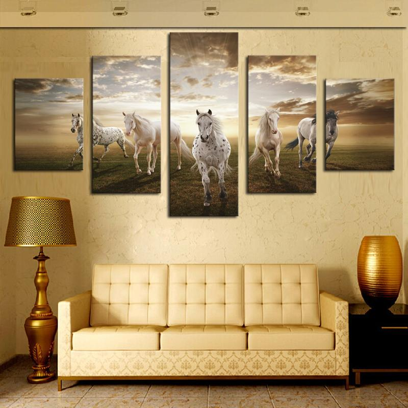 Wall Art Horses 2017 5 panel horses painting canvas wall art picture home