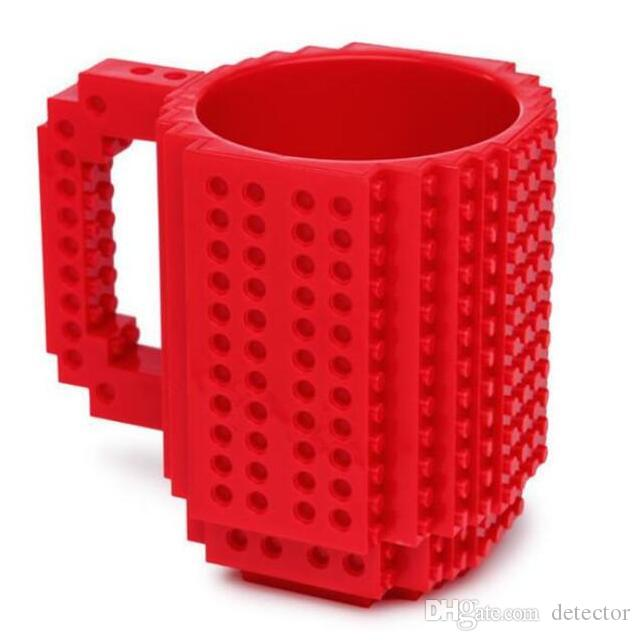 Build-On DIY Assembly Brick Mug Children Kids Building Blocks Coffee Cup DIY Block Puzzle Mug Drink Cup for PixelBlocks Mega Bloks