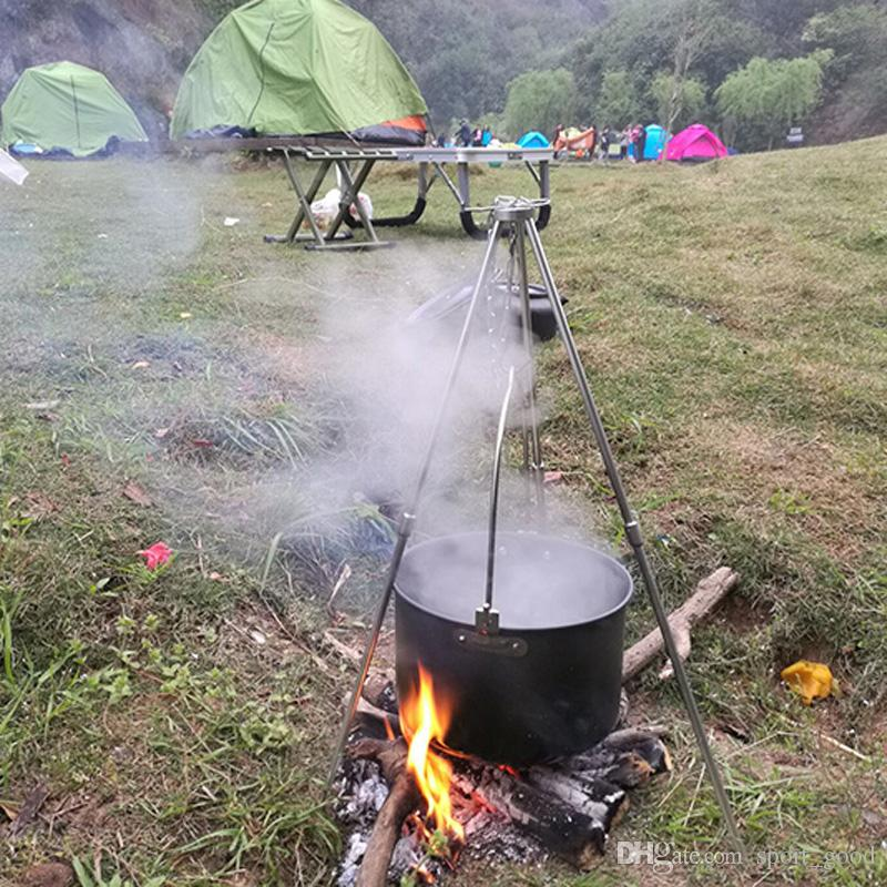 Novos aparelhos ao ar livre 3 seções de acampamento ao ar livre tripé portátil pendurado pote titular fogueira tripé de liga de alumínio suporte para venda