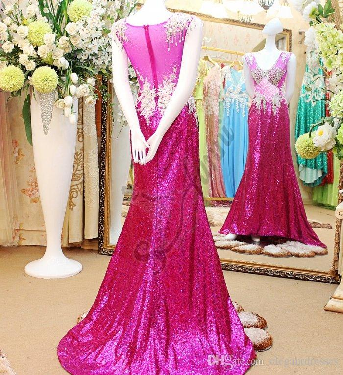 Elegant Fushia Crystal Prom Dresses for Party Beads Backless Evening Celebrity Pageant Evening Gowns Plus Size 2018 Cheap