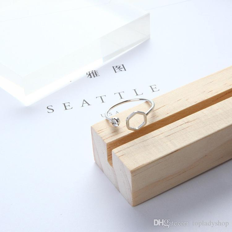 Simple triángulo geométrico poligonal abierto diamante anillo de cola anillo al por mayor envío gratis