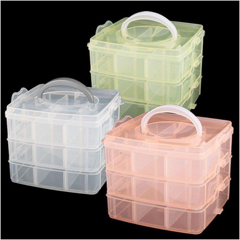 Functional 3 Layer Multi Volume Storage Box Case Nail Art Craft ...