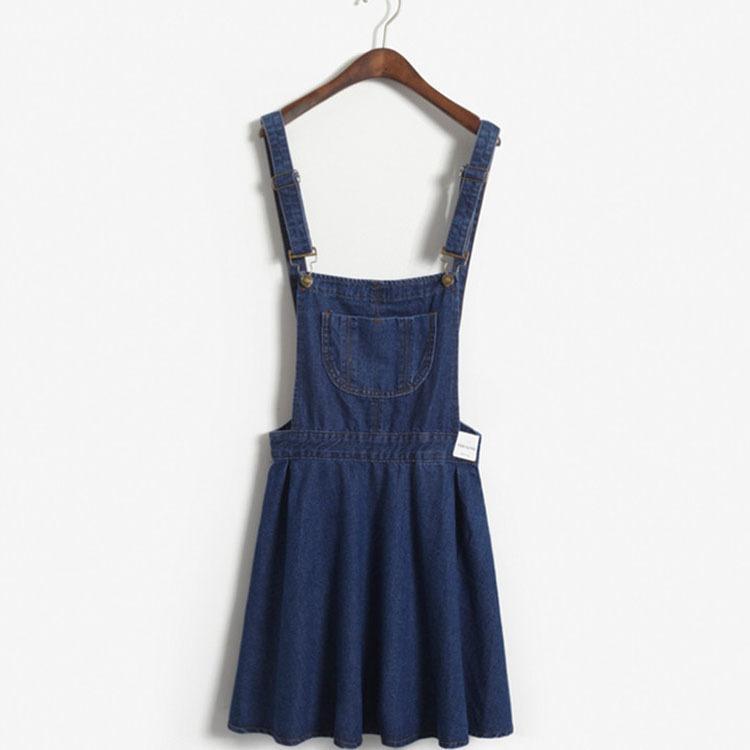 3e558134d12 Korea Stylenanda Denim Strap Dress Strap Dress Lotus Leaf Swing AA Sweater  Dress Sexy Party Dresses From Shi1