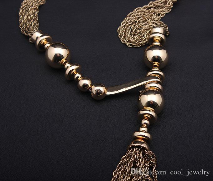 Joyas finas marca vintage Borlas de oro declaración collares colgantes para mujeres Cadena larga Y accesorios afilados al por mayor