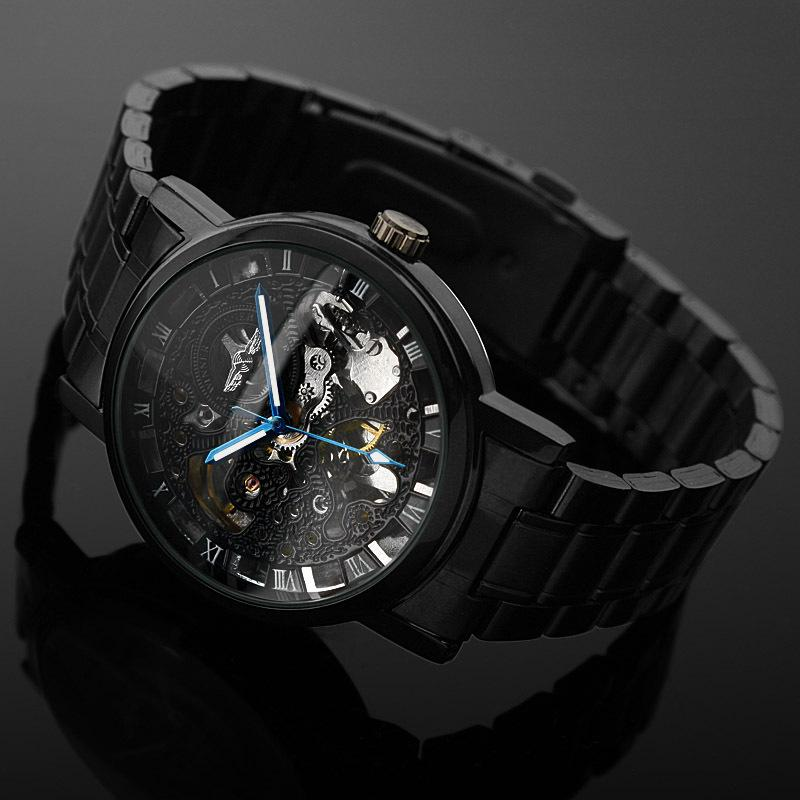 hand wish homme punk watches clock male whatch c winner men large black mechanical montre wristwatch wind steam