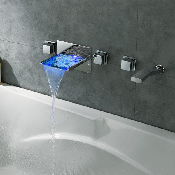 2015 wholesale new arrival wall mounted led waterfall bathtub faucet