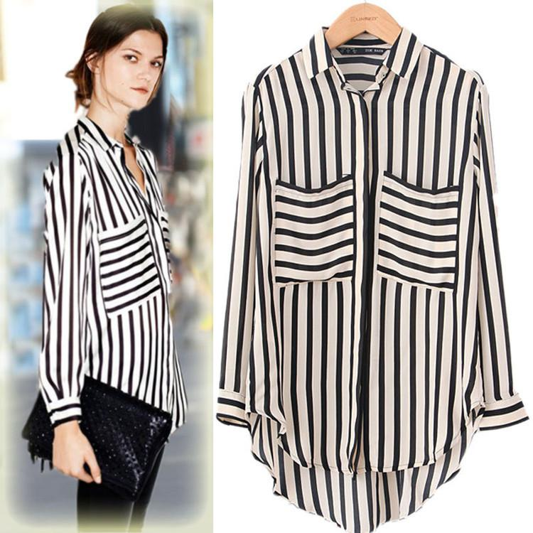 1cada454cc5 2015 Autumn Fashion Striped Sexy Slim Loose Women Long Sleeve Chiffon Long  Casual Tops Dress Shirt T-shirt Ladies Blouses Blouse Size Cloth Chiffon  Long ...