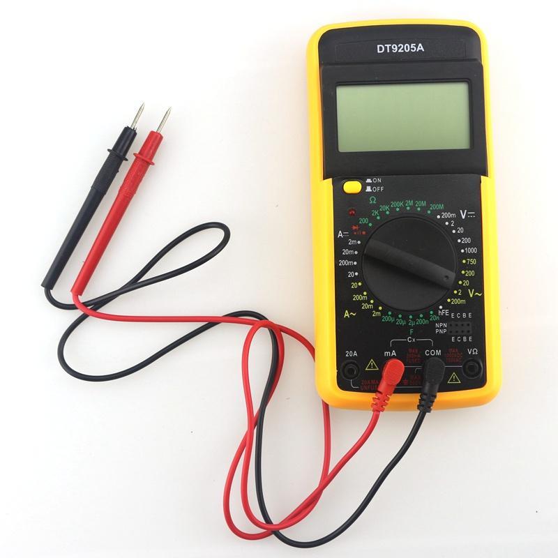 Novo DT9205A Testador Multímetro Digital AC / DC Capacitância Resistência Amperímetro Voltímetro Display LCD com Teste de Chumbo Portátil