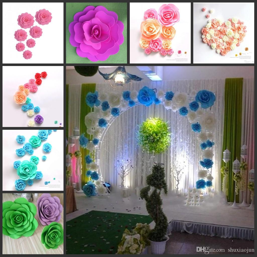Big Foam Rose Flower For Wedding Stage Background Door Decorative